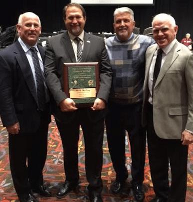 McElroy receiving the award in San Antonio, Texas Courtesy of Mark McElroy