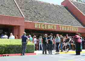 Crowds gather at the Regency Theatre at the South Coast Plaza for the Newport Beach Film Festival. The Saddleback showcase normally is screened at the Lido Theatre, but was moved due to renovations. (Austin Weatherman/ Lariat)