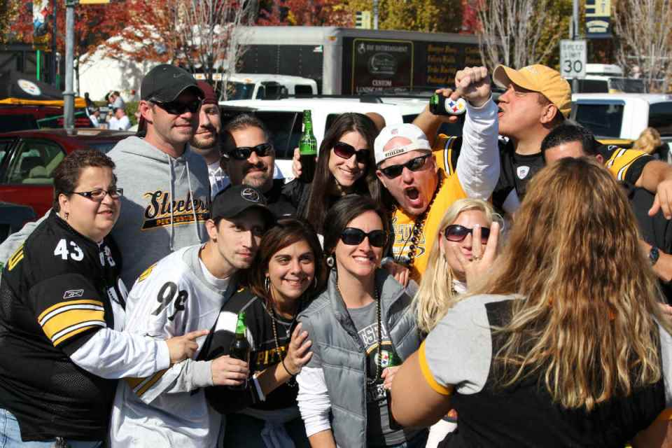 Steelers fans have the right idea about how to tailgate before a football game. They were getting as trashed as possible before kick-off. (Daveynln/Flickr)