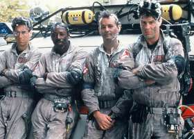 """""""Ghostbusters"""" premiered in 1984 and starred (L to R) Harold Ramos, Ernie Hudson, Dan Ackroyd and Bill Murray. (Columbia Pictures)"""