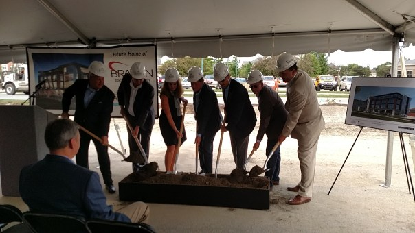 A makeshift ground breaking at North Street and Municipal Drive.