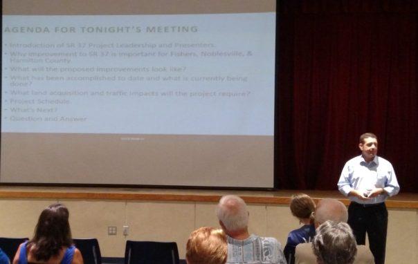 Traffic engineer Troy Woodruff explains the construction plans