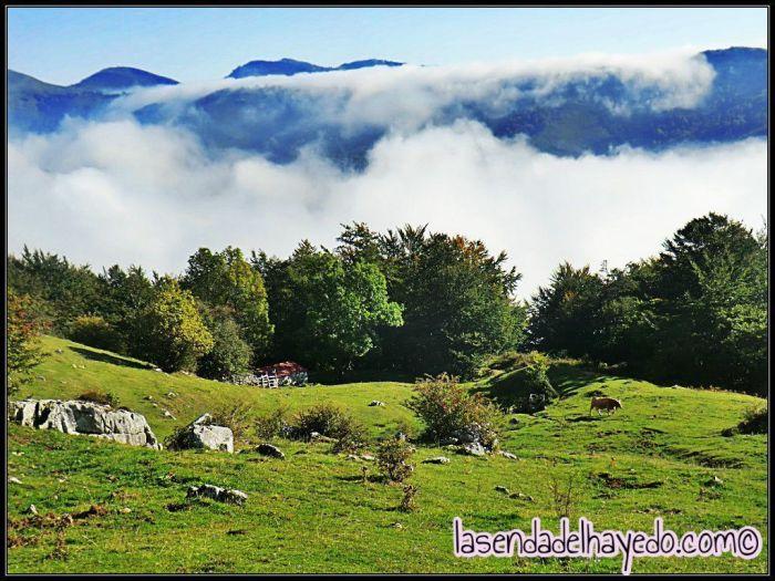 Nieblas otoñales sobre el valle y gran parte de Asturias desde Manín