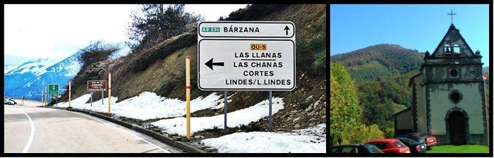 Izq: Alto de la Cobertoria, divisoria de los valles de Quirós y L.lena. Dcha: Iglesia de L.lindes, común aparcamiento del pueblo.