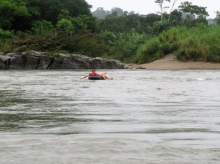 Tubing on the Napo River.