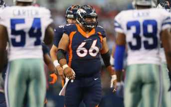 ARLINGTON, TX - OCTOBER 06:   Manny Ramirez #66 of the Denver Broncos at AT&T Stadium on October 6, 2013 in Arlington, Texas.  (Photo by Ronald Martinez/Getty Images)