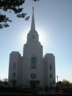 Sunlight behind Brigham City Temple