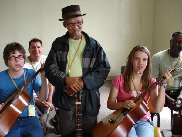 Hannes with students