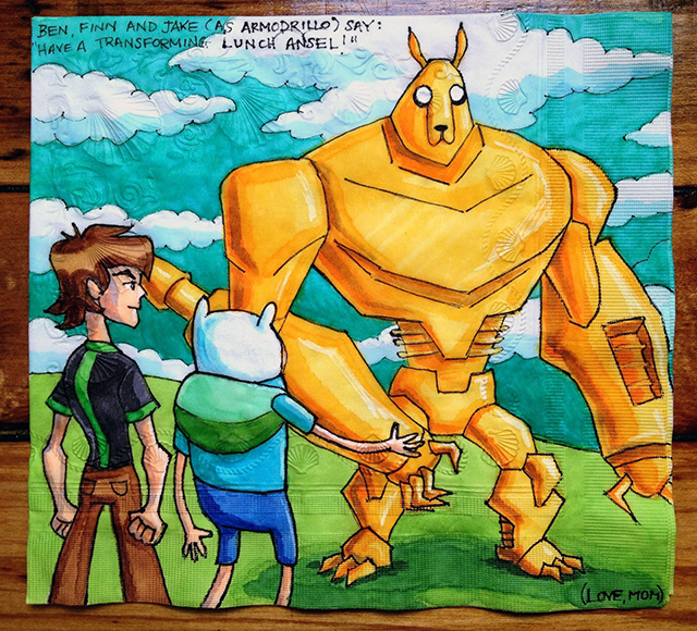 Ben 10 with Finn and Jake from Adventure Time