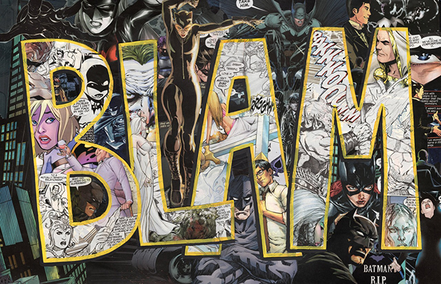BLAM Batman DC Comics Black and White Super Hero Collage