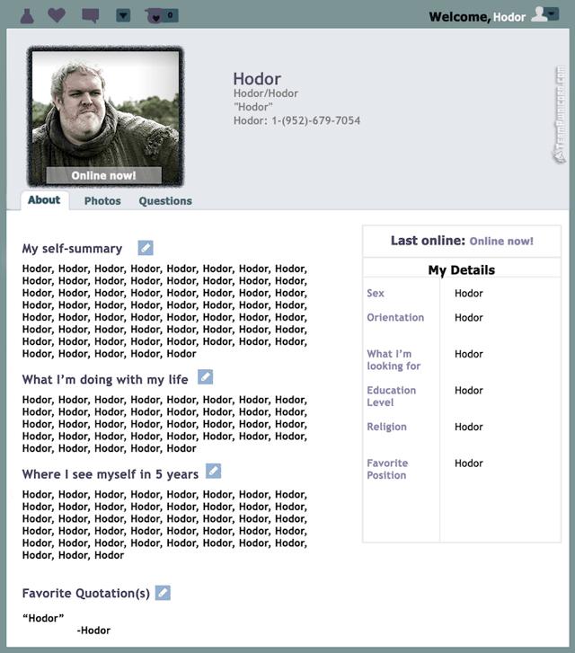 Game of Thrones Dating Profiles – Hodor