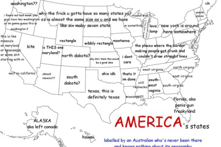 a funny map of the united states as labeled by an australian