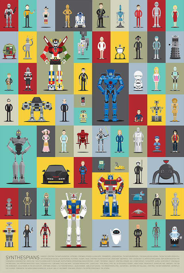 Synthespians, Illustrated Versions of Famous Robots From Movies & TV Shows