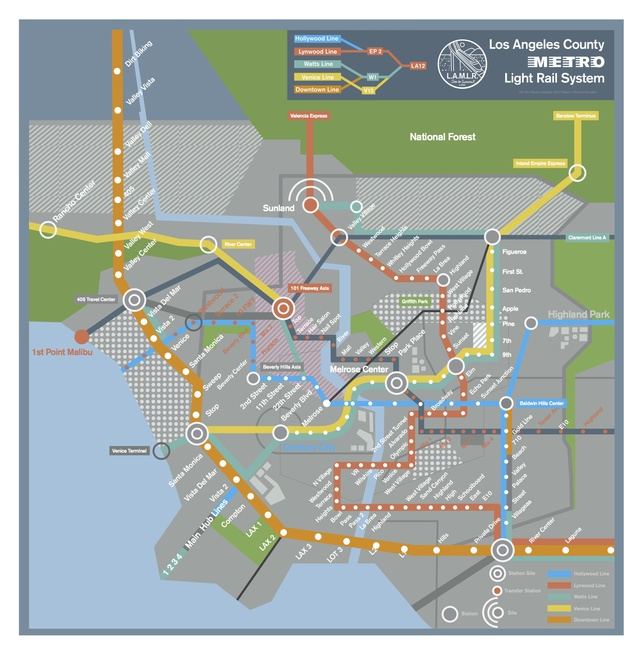 Los Angeles Subway Map from 'Her'