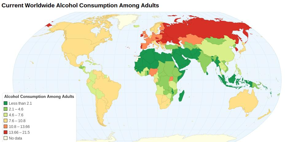 Alcohol Consumption Among Adults Worldwide