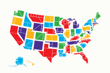 tangram states, a map of the united states made up of