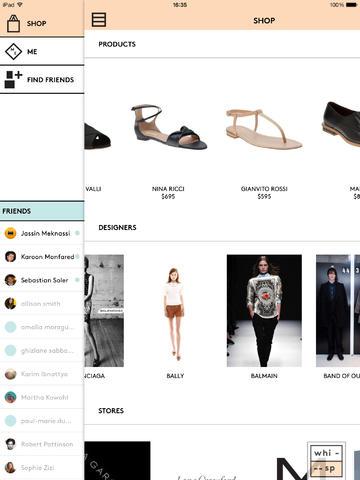 Whisp iPad Shopping Screen