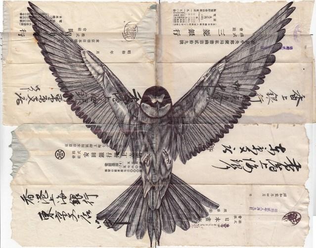 Pen Drawings on Vintage Paper Scraps