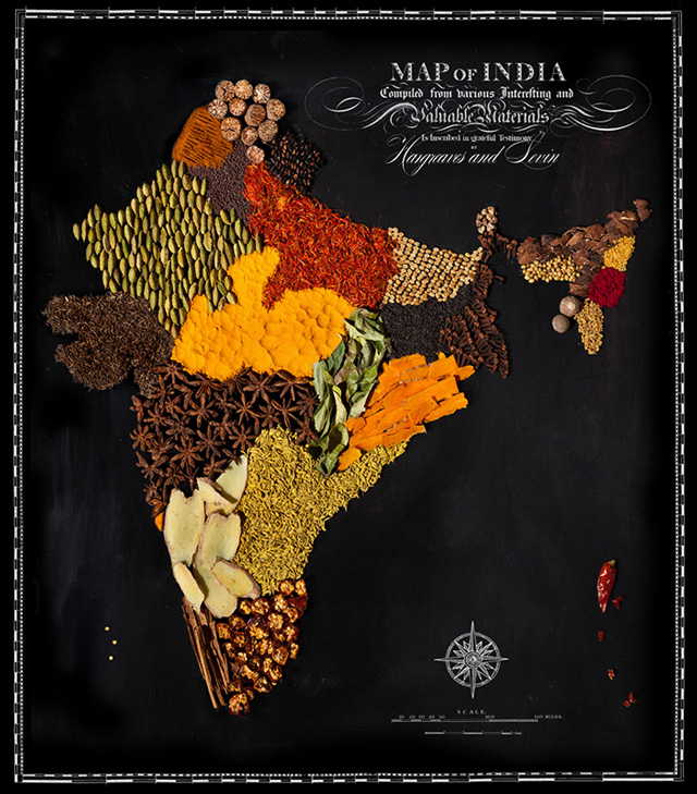 Maps of Countries and Continents Made of Food
