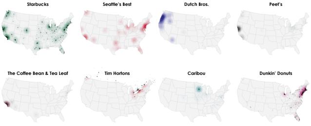 Coffee Shop Chain Regional Maps