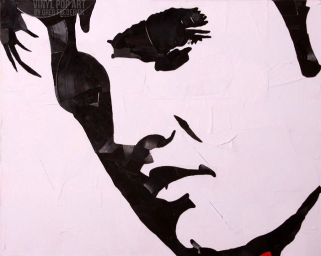 Celebrity Portraits Made out of Vinyl Record Shards
