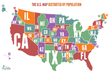 map of the united states distorted by population
