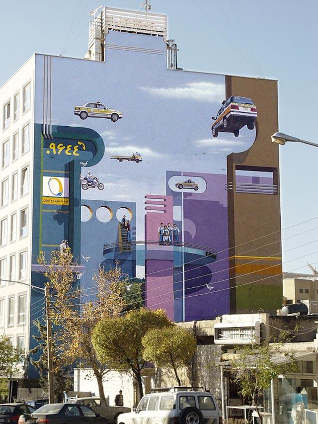 Delightfully Surreal Tehran Building Murals by Mehdi Ghadyanloov