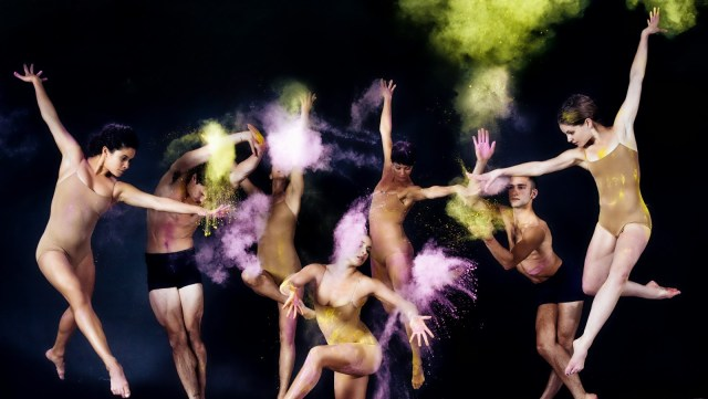 Photos of Ballet Dancers Posing Amidst Clouds of Colorful Powder
