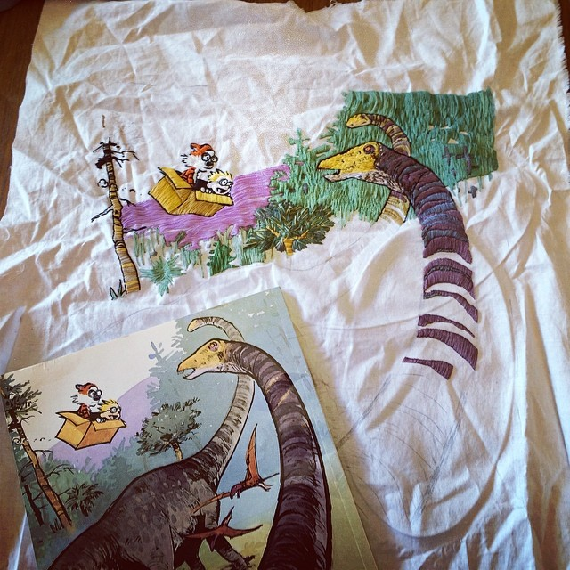 Embroidery of a Calvin and Hobbes Illustration by Laura Hartrich