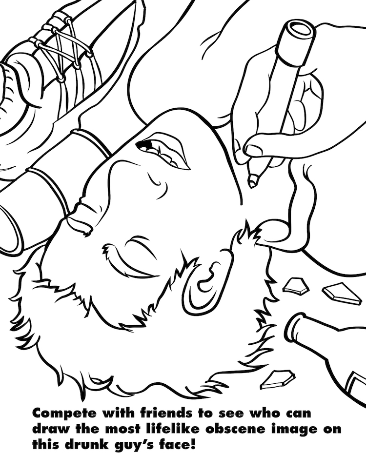 Coloring for Grown-Ups Drunk Guy Face