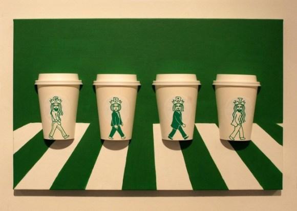 Altered Starbucks Logo Coffee Cup Art