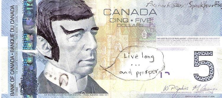 Canadian Spock 5 Dollar Notes