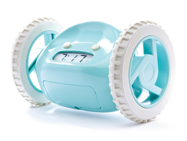 clocky the run away alarm clock Unlike other clocks that you can easily hit the snooze button and fall back asleep,  the clocky alarm clock makes sure you get out of bed.