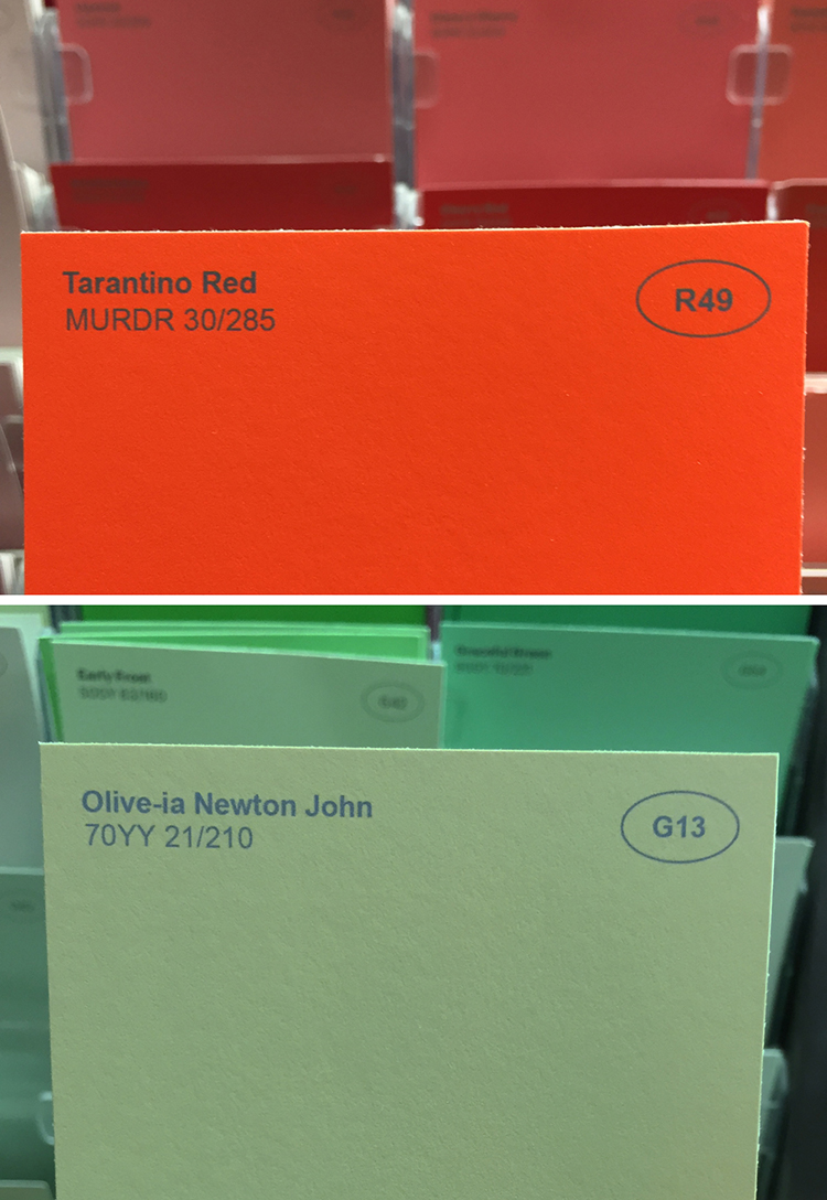 plant adds clever fake names to ordinary paint colors at a local store
