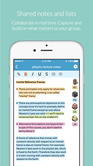 Pingpad Screenshot Lists and Notes
