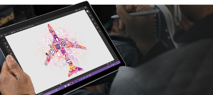 microsoft surface book detached screen with pen and art