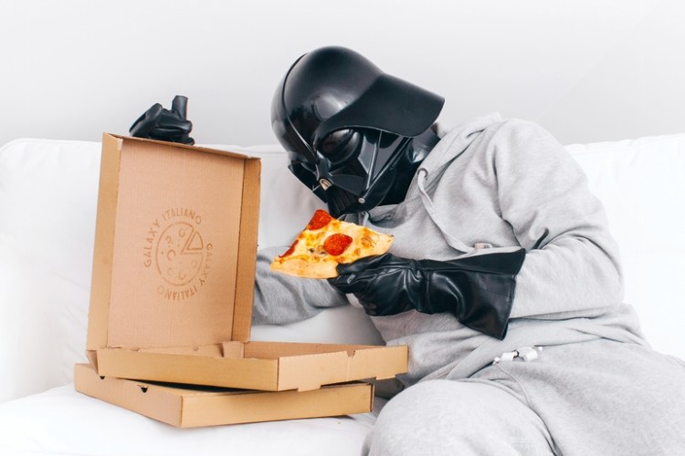 Vader Enjoys Some Pizza