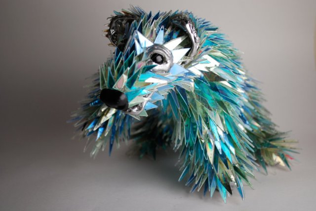 CD fragment animal sculptures by Sean Avery