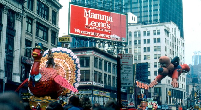 Macy's Thanksgiving Day Parade, 1979. Bob Keeshan rides the Tom Turkey chased by the Underdog balloon