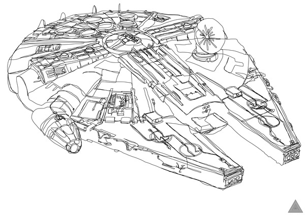 Continuous Line Star Wars Drawings by Sam Hallows