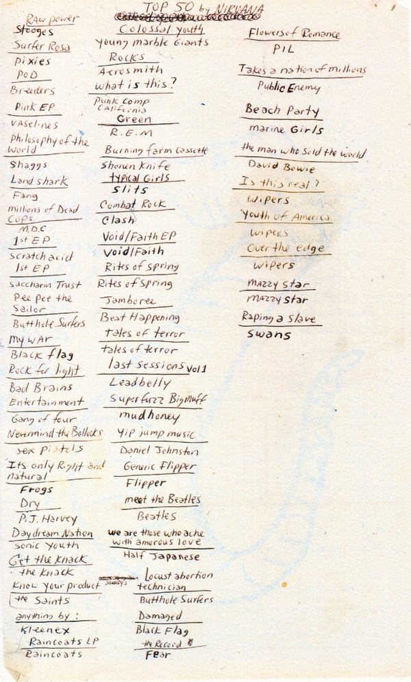 Kurt Cobain's Top 50 Albums List