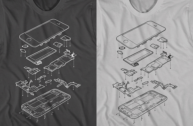 Exploded Phone 5 T-Shirt by Garry Booth