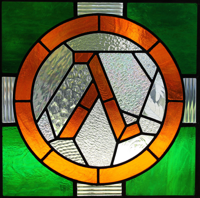 Half-Life Logo X Stained Glass Panel by Martian Glass Works