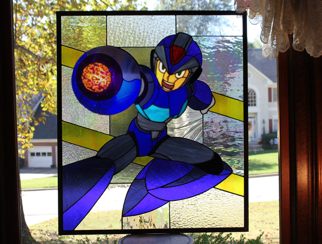 Giant Mega Man X Stained Glass Panel by Martian Glass Works