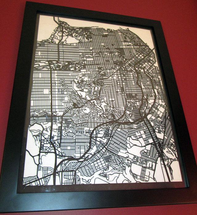 Laser cut street maps by Dan Linden
