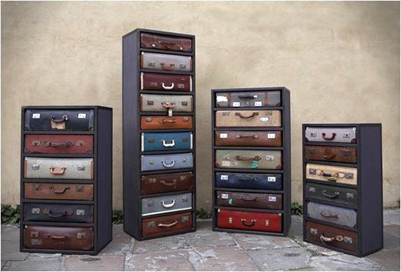 Vintage suitcase dressers by James Plumb