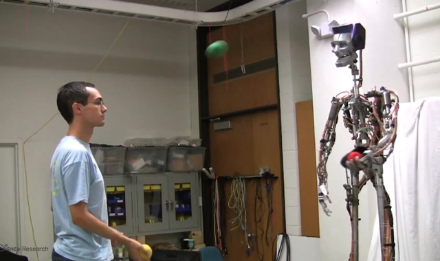 Robot plays catch and juggles