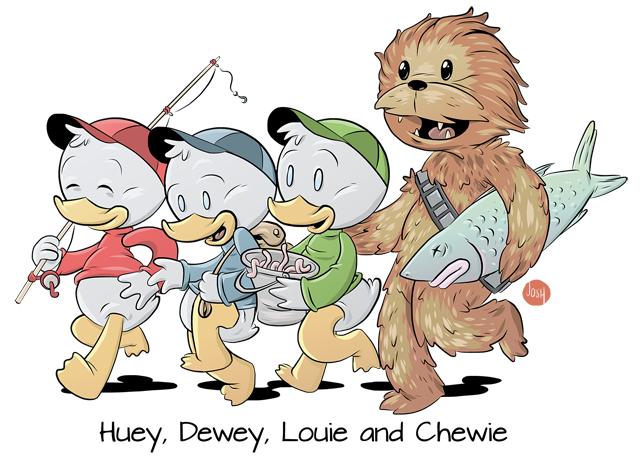 Huey, Dewey, Louie and Chewie by Josh Gowdy