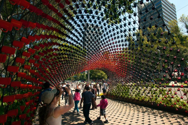 Portal of Awareness coffee cup arch by rojkind arquitectos