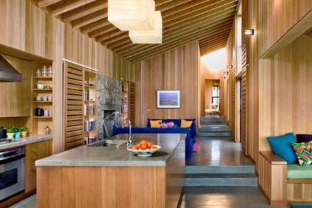 modern wooden interior beach home kitchen design